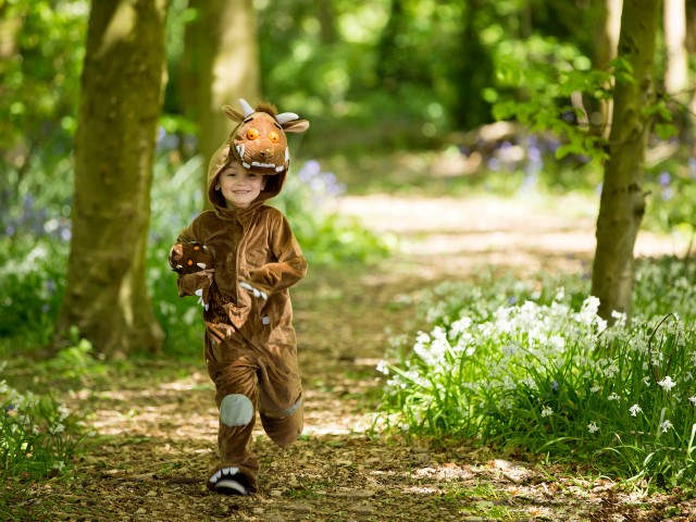 Little Gruffalo running through the woods