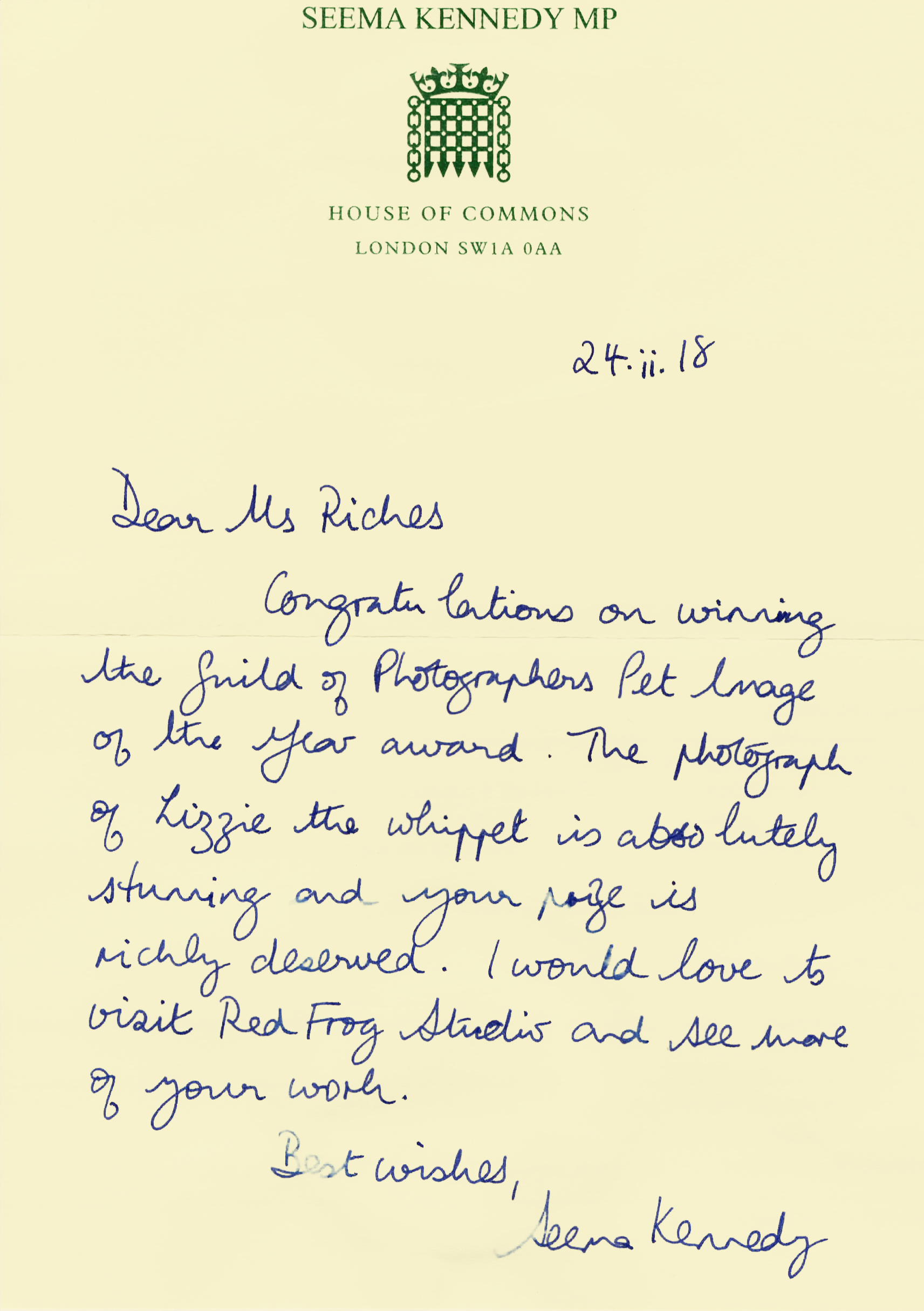House of Commons Letter from MP Seema Kennedy - Red Frog